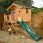 playhouse with tower and slide