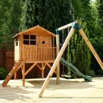 playhouse with tower, slide and play
