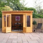 garden summerhouse with curved roof