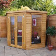 Corner garden summerhouse