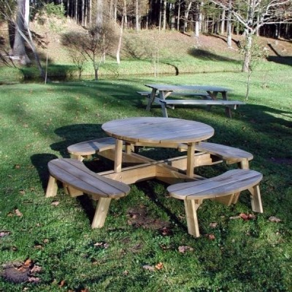Round garden table with seats sheds to last for Round garden buildings