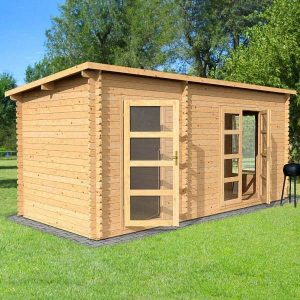 Pent Log Cabin With Side Shed