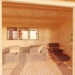 home office log cabin inside