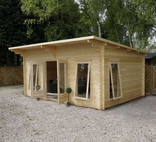 log cabin with overhang dressed open